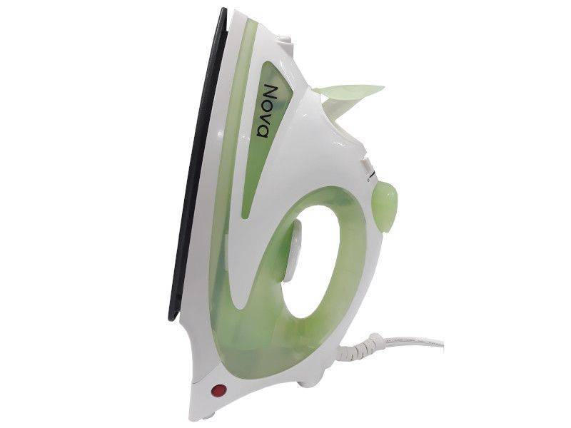 Nova Home Appliance Electric Steam Iron- Light green and white- side view
