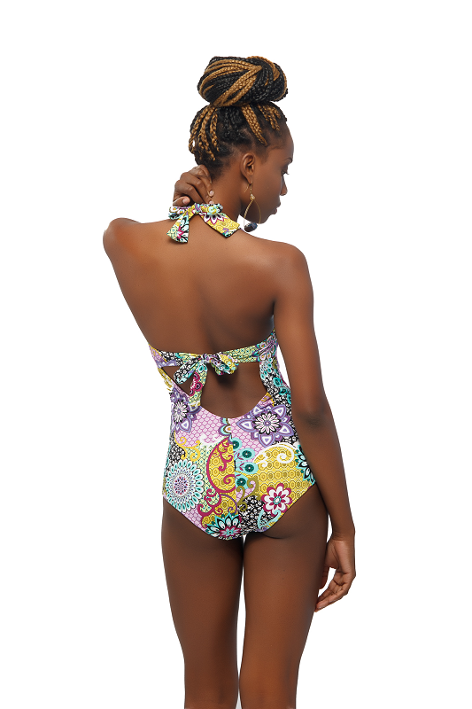 Back view of the One Piece Multi-Colored Swimwear