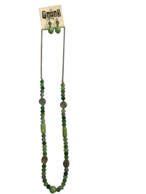 Panaj Shades Of Green Long Bead Necklace Matching Dangly Earrings Fashion Jewelry