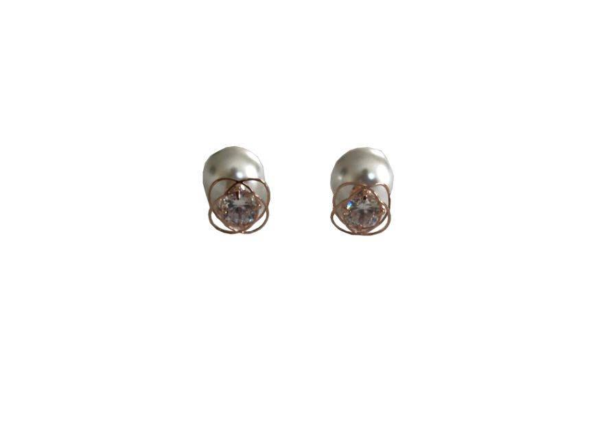 Rose Gold Swirl Stud Cubic Center And Pearl Knob Trio Women's Earring