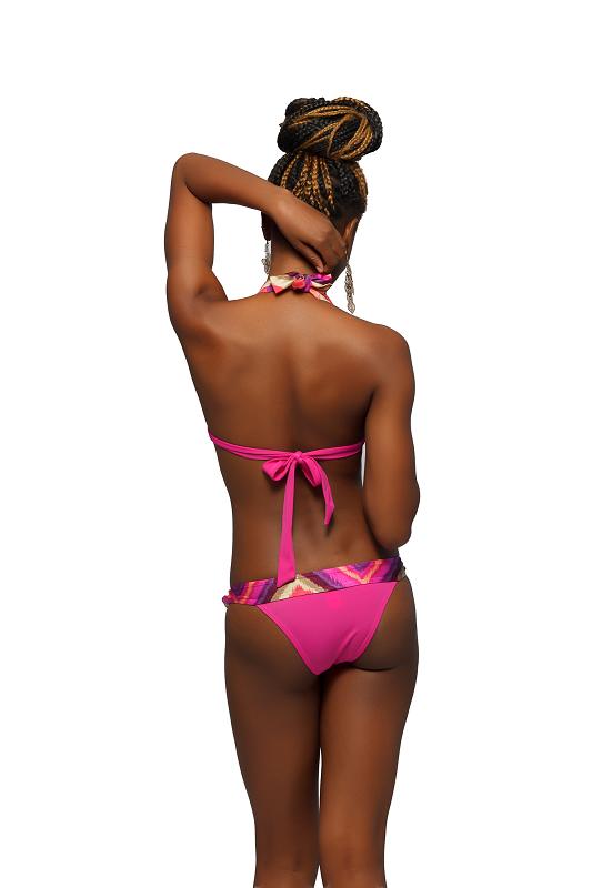 Rear view of the Pink Multi-Colored Stripe Two Piece Bikini