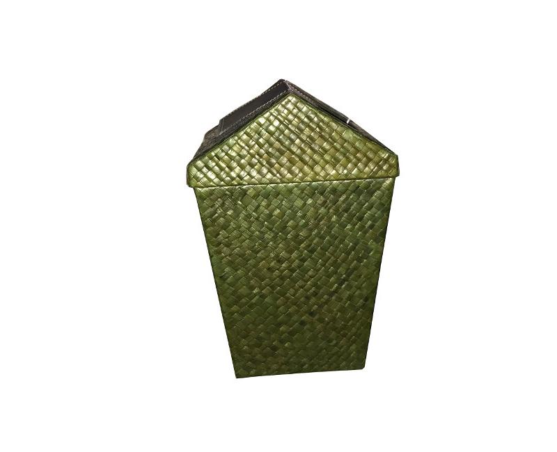Rattan Bedroom Or Office Waste Bin Green Garbage Fashion Trash Can