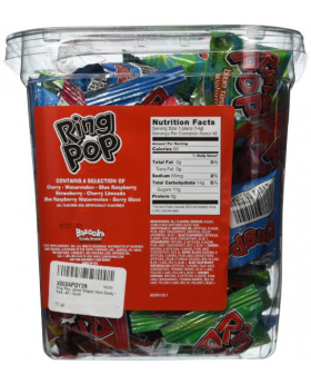 Ring Pops 40 Count nutrition facts