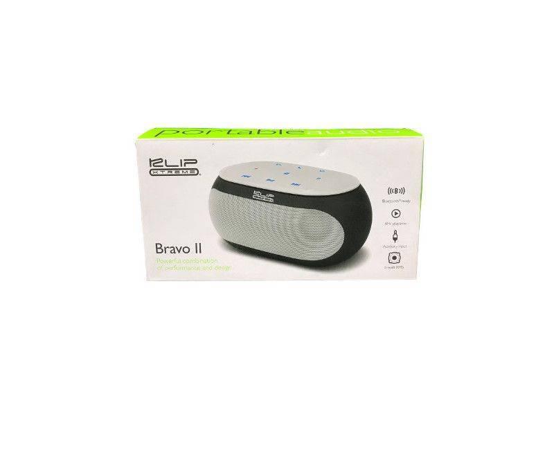 KLIP White and Black Xtreme Bravo II Portable Audio in the box