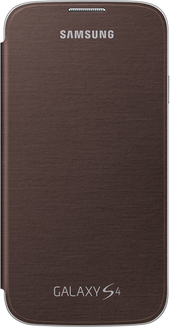 Front view of the Samsung Galaxy S4 Brown Flip Cover