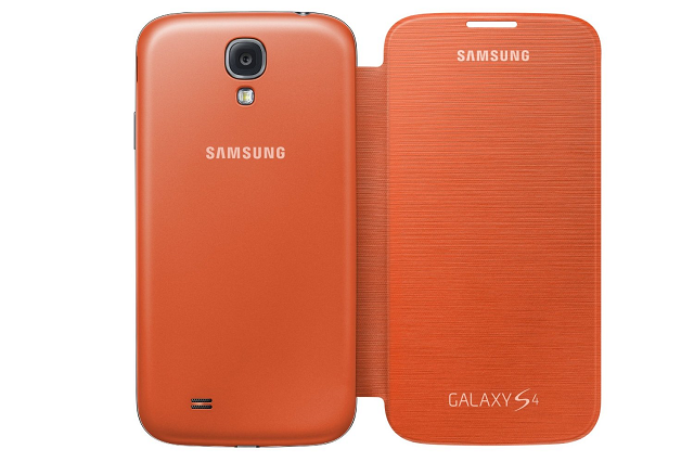 Front and rear view of the Samsung Galaxy S4 Orange Flip Cover
