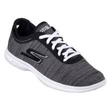Skechers Mens Go Step Vast in Black with white  -9