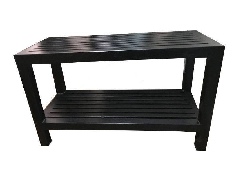 Black shower bench