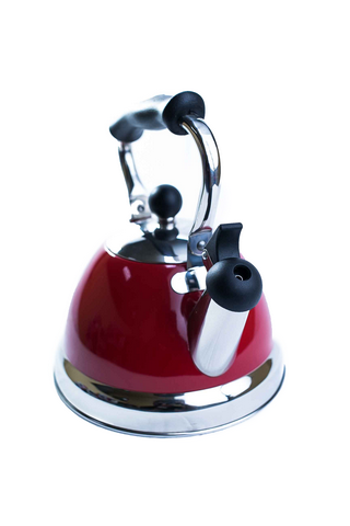 Stanza 2.5 Quart Stainless Steel Red Tea Kettle 92636-7 front view
