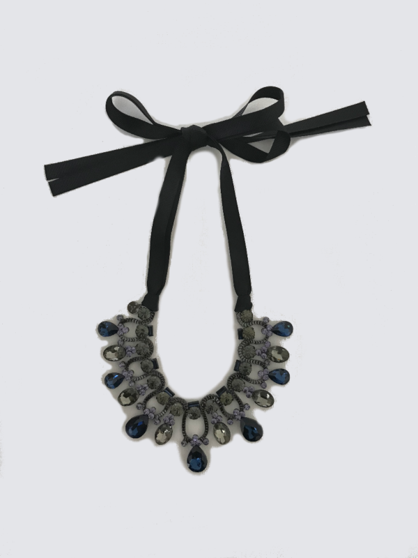 Statement Necklace With Rich Blue and Grey Black Hues
