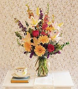 Peach & Purple Vase Floral Arrangement