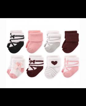 Terry 8 Pack Girls Socks - Ballet O-6 Months