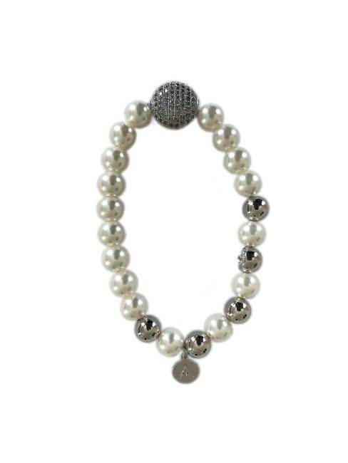 Pearl and Silver Attitude Bangle Bracelet W/ Station Of Stones Clustered
