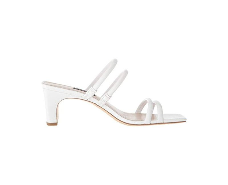 White size 9.5  Nine West Women's Nakato Leather Heeled Sandal