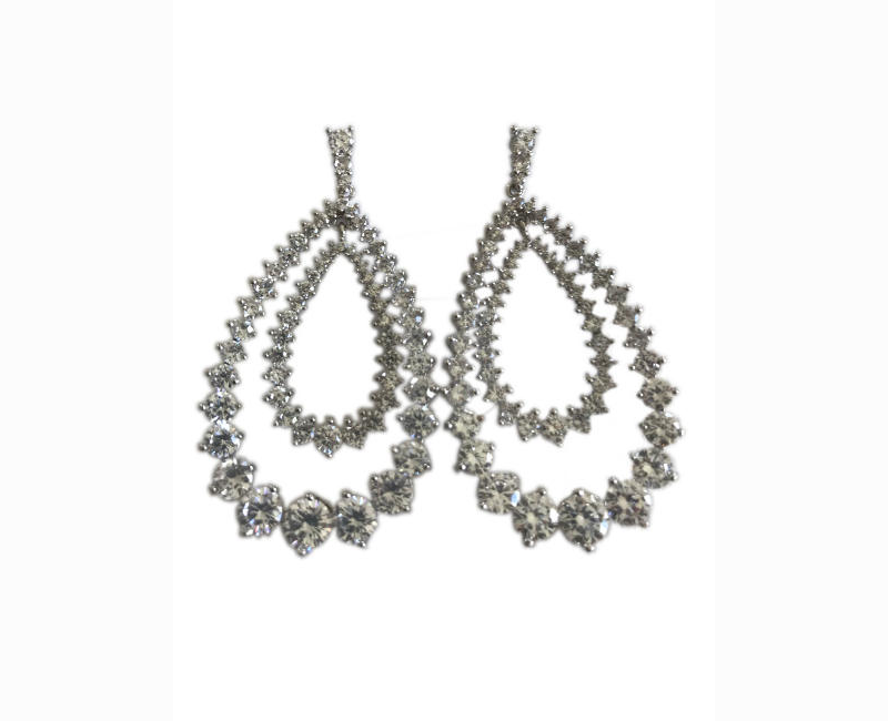 Women's Attitude White Plated Rhinestone Earrings for Weddings, Prom or Any Special Occasion